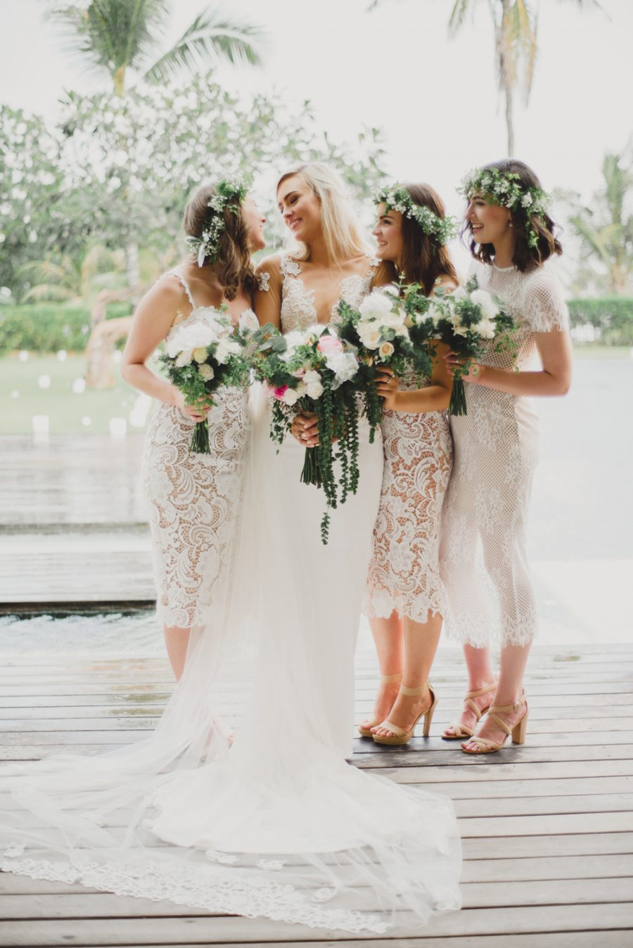 Elegant Mismatched White Lace Bridesmaid Dresses
