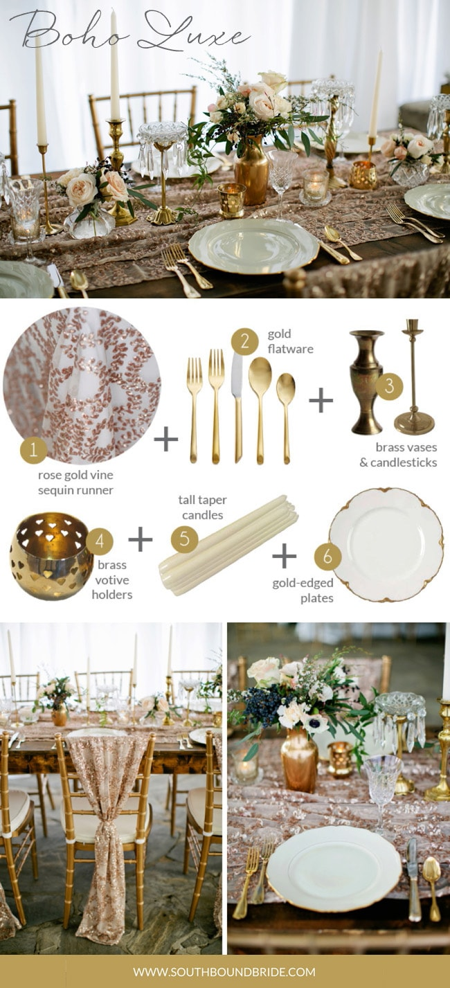 Boho Luxe | How to Style a Boho Wedding Tablescape | Credit: Kristyn Hogan