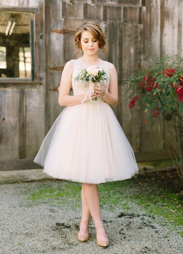 Short Tulle Wedding Dress