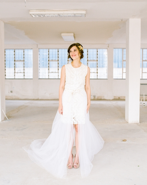 Short Wedding Dress with Detachable Skirt