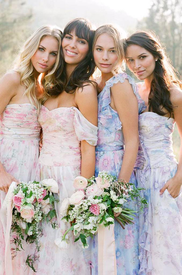7d08a3a9e91 Pastel Floral Print Bridesmaid Dresses by PPS Couture