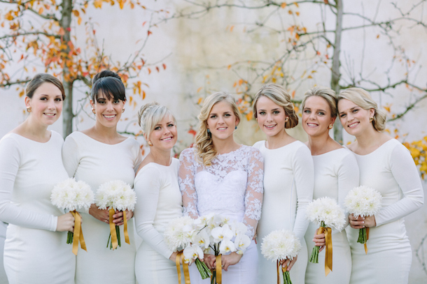 White Long Sleeve Bridesmaid Dresses