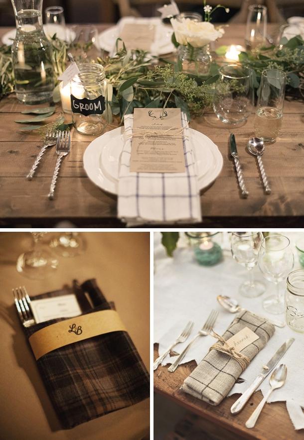 Plaid Napkins   Fall Wedding Ideas   SouthBound Bride