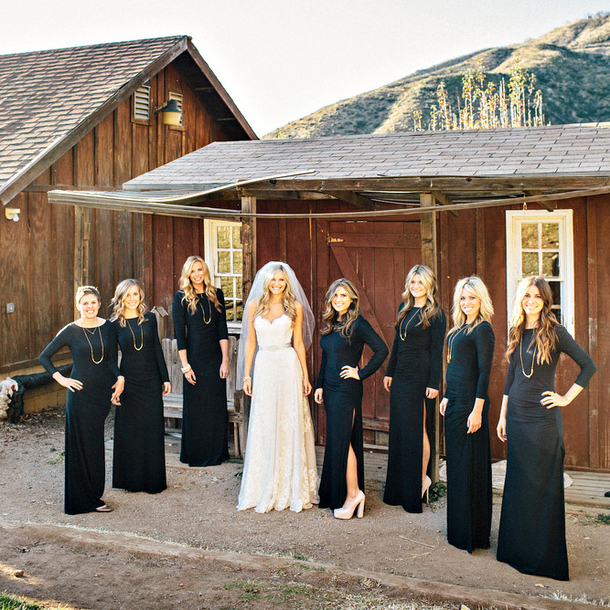 Long Sleeve Bridesmaid Dresses Black
