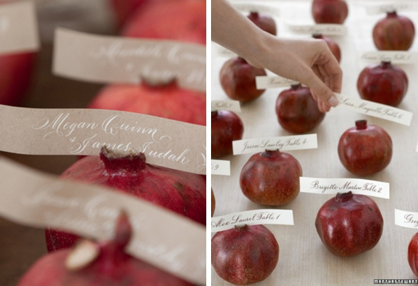 Pomegranate Escort Cards | Fall Wedding Ideas | SouthBound Bride
