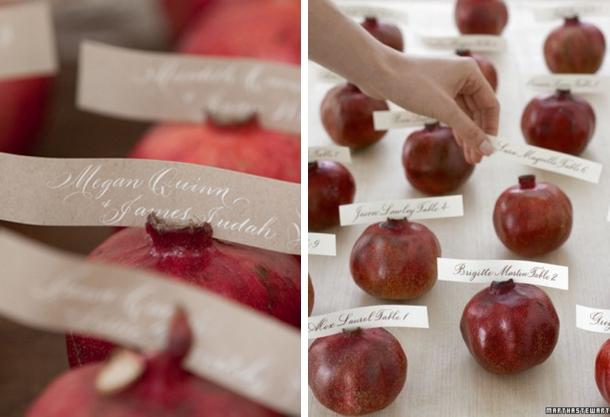 Pomegranate Escort Cards   Fall Wedding Ideas   SouthBound Bride