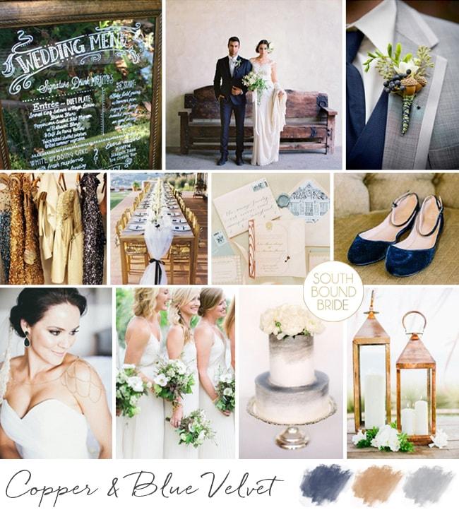 Navy, Copper & Grey Wedding Inspiration   SouthBound Bride