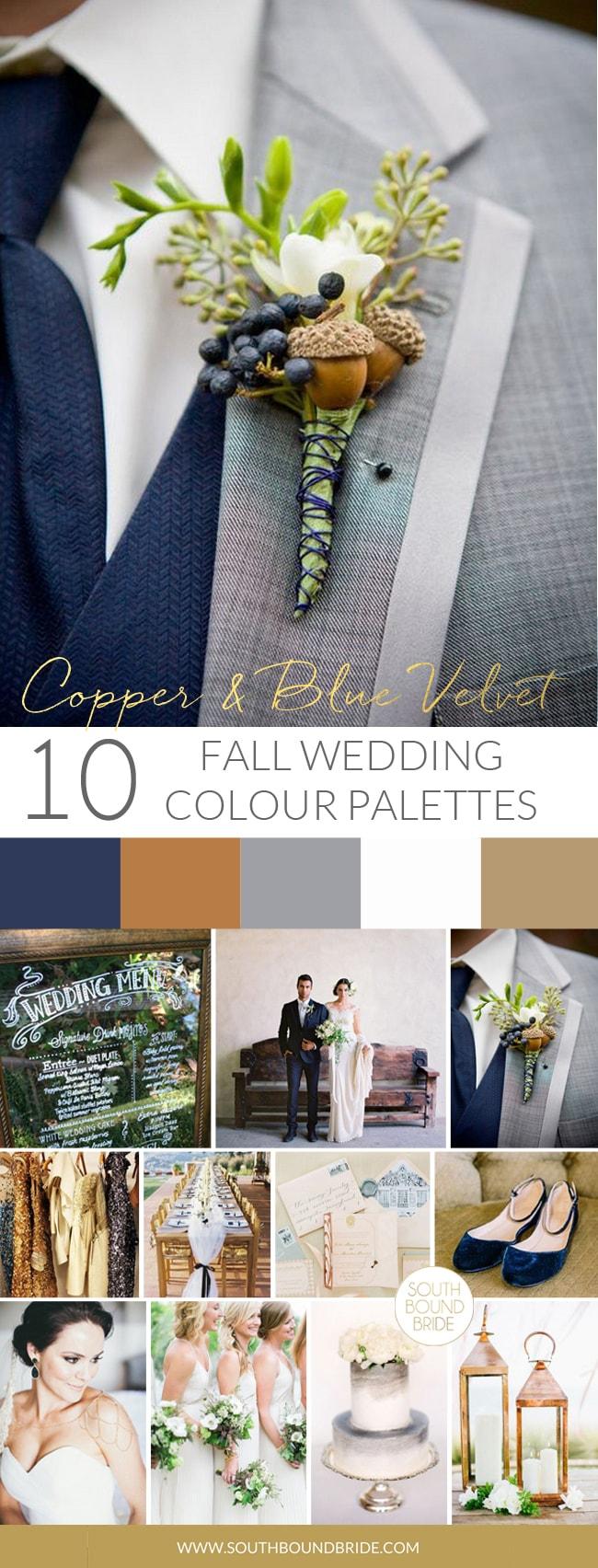 Copper & Blue Velvet Fall Wedding Palette | SouthBound Bride