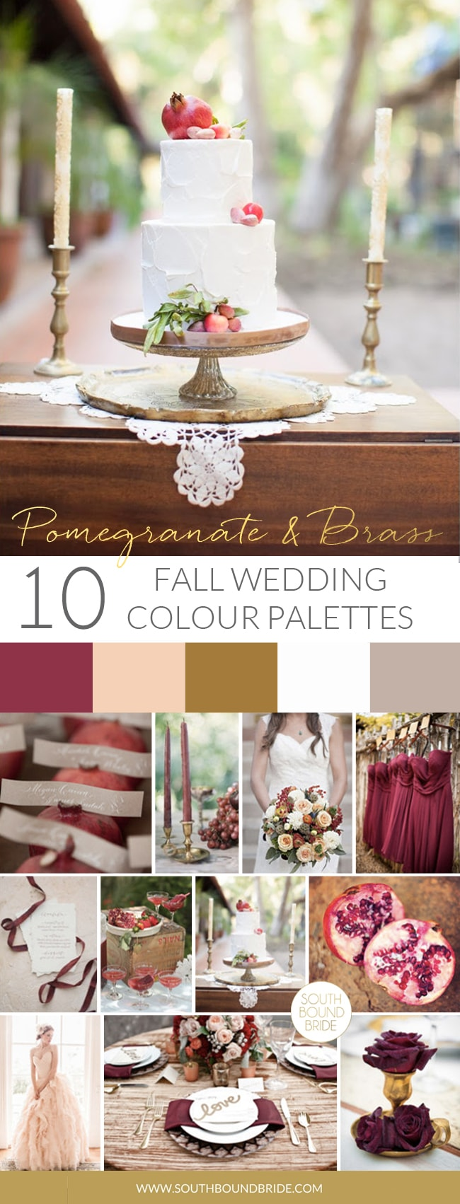 Pomegranate & Brass Fall Wedding Palette | SouthBound Bride