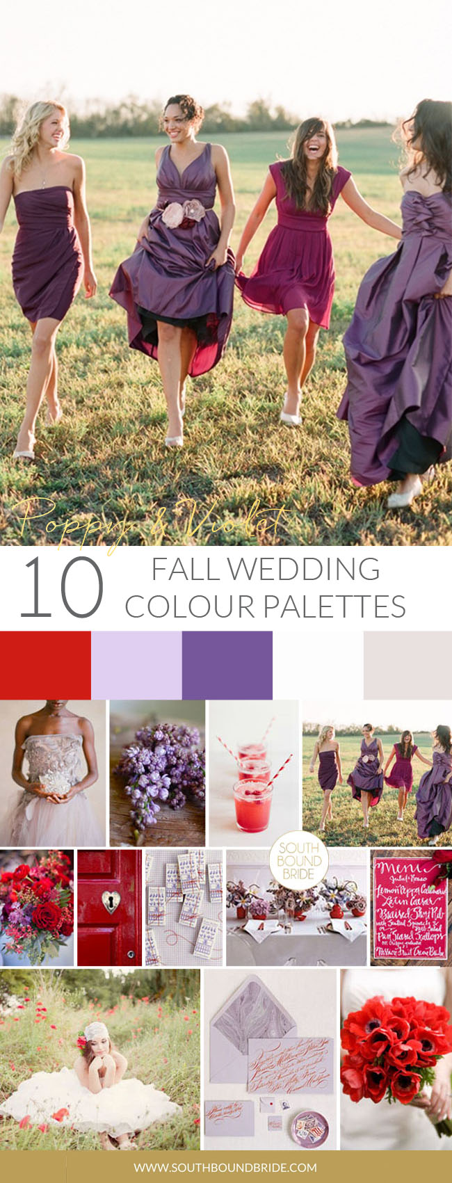 Poppy & Violet Fall Wedding Palette | SouthBound Bride