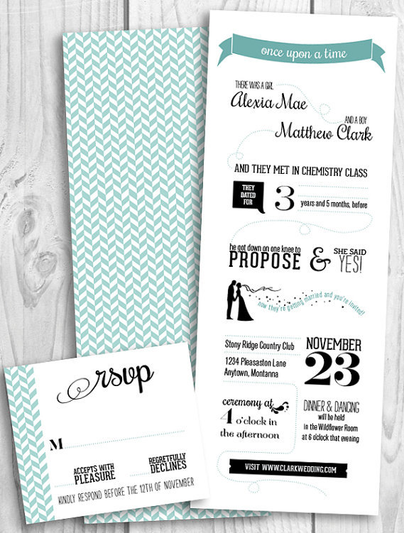 love story infographic wedding invitations