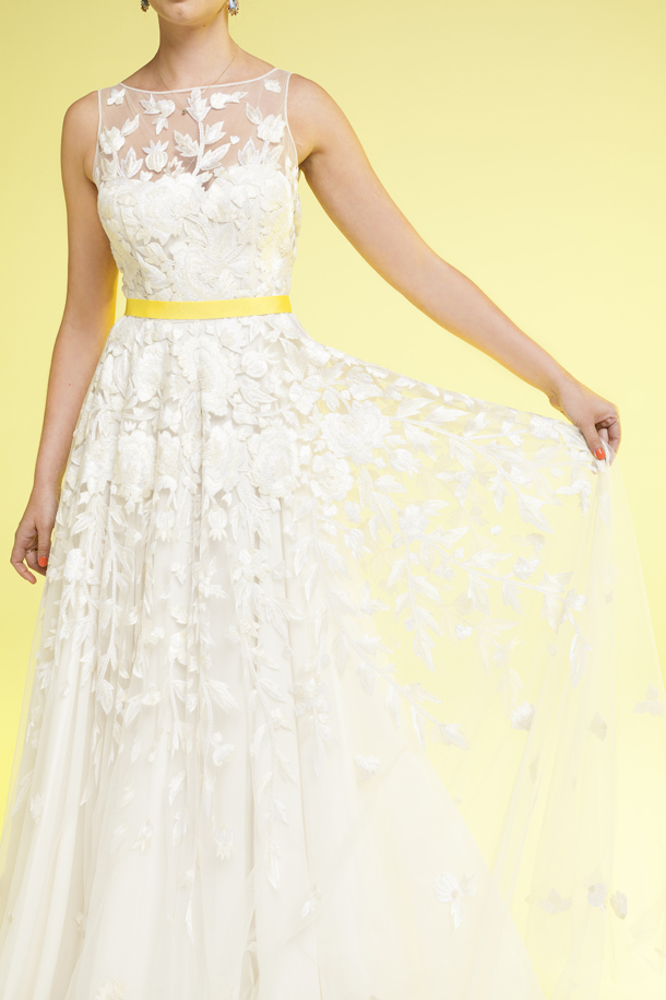 Pictures of white and yellow wedding dresses