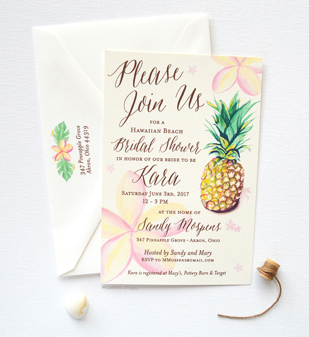 Tropical themed bridal shower invitations ideas southbound bride filmwisefo