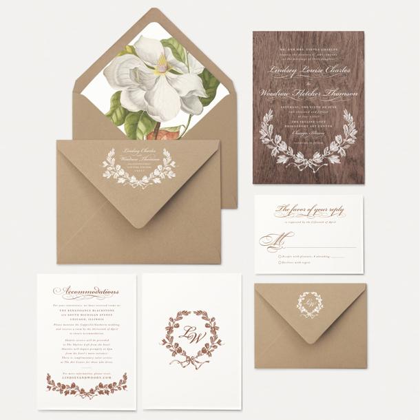 Oak Orchid Botanical Wedding Invitations SouthBound Bride