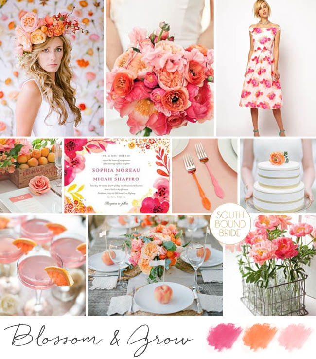 Blossom & Grow Pink, Peach & Orange Floral Wedding Inspiration | SouthBound Bride