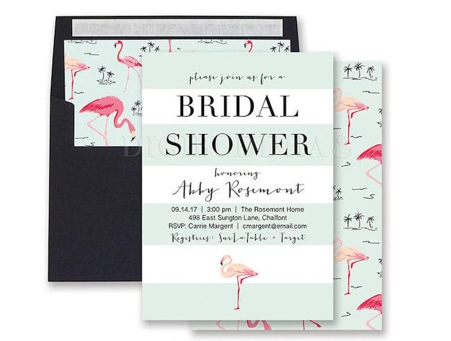 b6b3c920fea6 FLAMINGO BRIDAL SHOWER Invitation by digibuddha Paperie