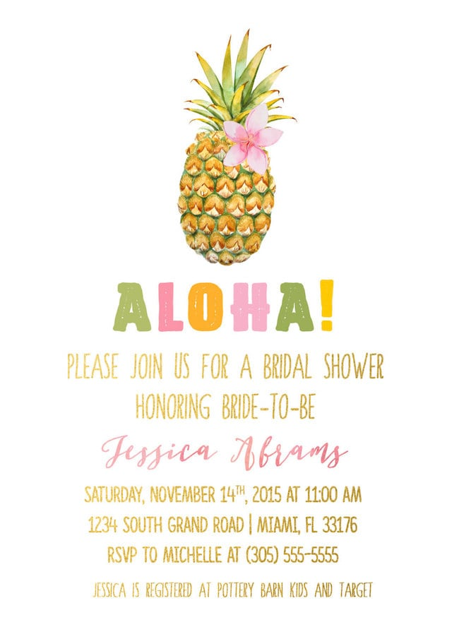 807ed6ea1649 Tropical Pineapple Bridal Shower Invitation by Casa Confetti. Pineapple  Bridal Shower Invitation by Little Birdie Prints (left) ...