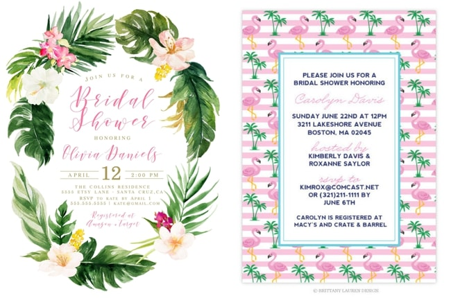 Tropical themed bridal shower invitations ideas southbound bride tropical invitation by palm paperie left preppy party flamingo palm tree invitation by brittany lauren design right filmwisefo
