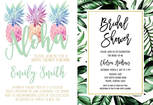 pineapple bridal shower invitation by little birdie prints left pineapple bridal shower invitation by sunny days creation right