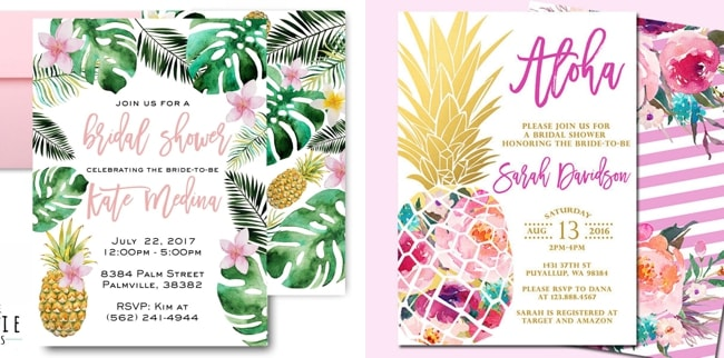 Tropical themed bridal shower invitations ideas southbound bride pineapple bridal shower invitation by little birdie prints left pineapple bridal shower invitation by sunny days creation right filmwisefo