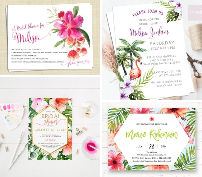 Tropical themed bridal shower invitations ideas southbound bride tropical bridal shower invitations by eclectic note cards top left tropical bridal shower invite by jadore paperie top right printable tropical filmwisefo
