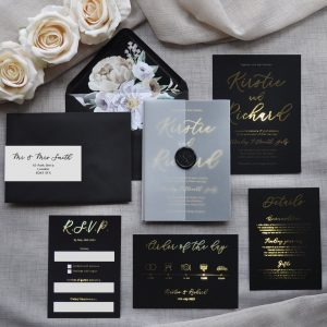Gold Foil Wedding Invitations from Etsy