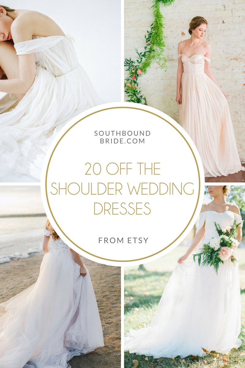20 Off-the-shoulder Wedding Dresses from Etsy | SouthBound Bride