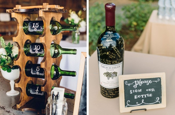 Instead Of A Traditional Guest Book, Use Wine Bottles As A Twist. Three  Great Ideas From Real Weddings: Getting Guests To Sign A Single Bottle, ...