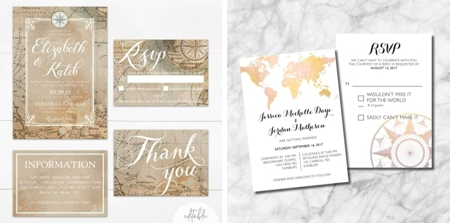20 Printable Travel Theme Wedding Invitations Southbound Bride