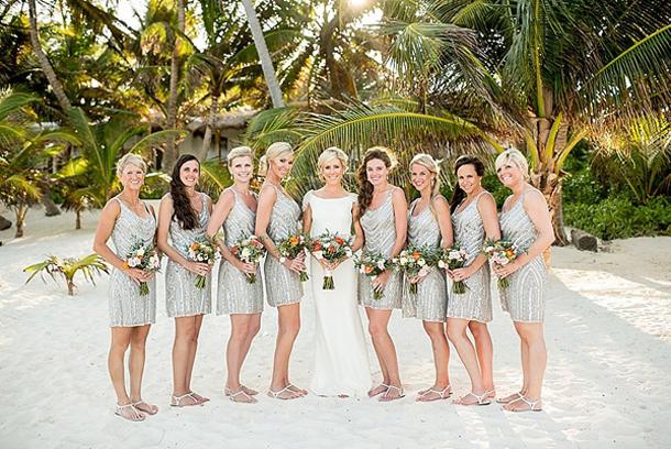 Silver Sparkle Bridesmaid Dresses