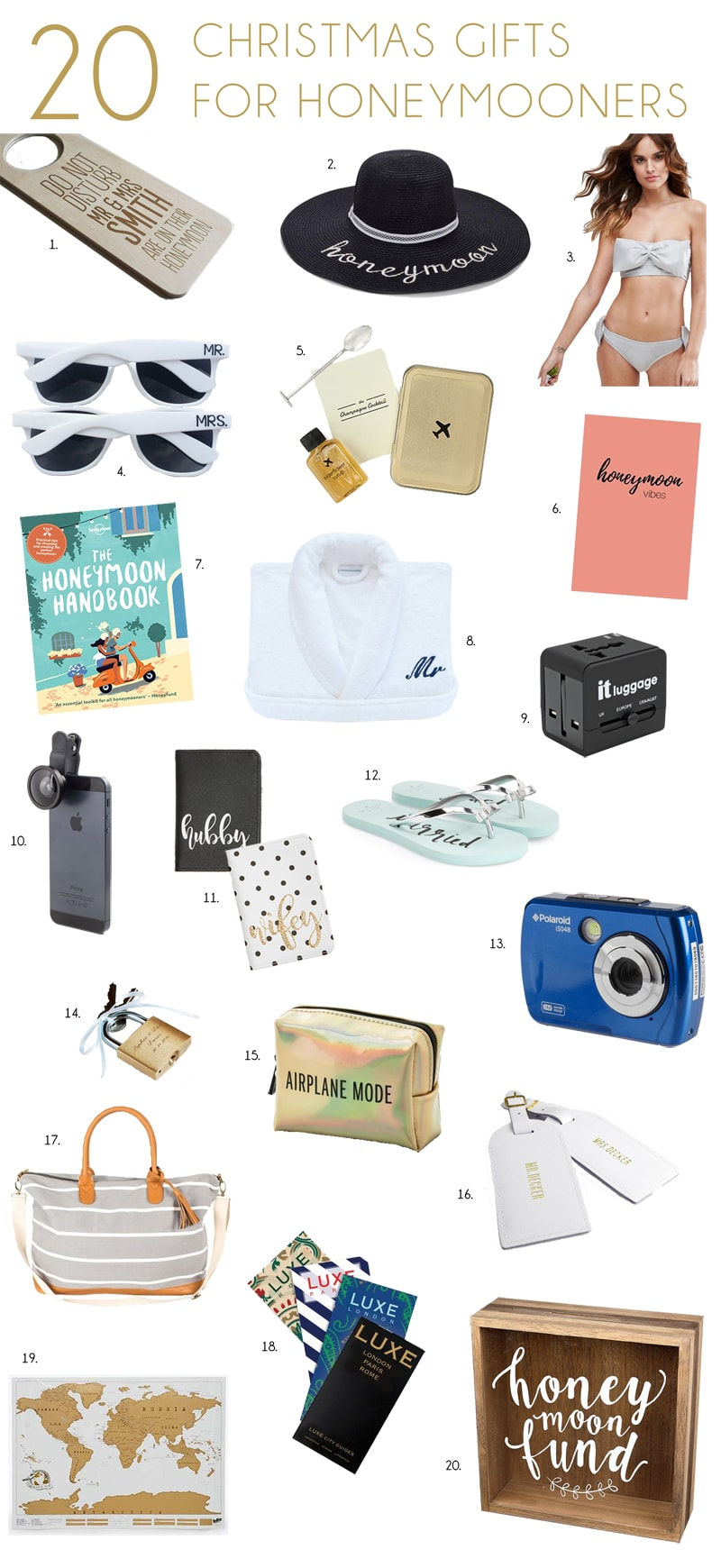Christmas Gifts for Honeymooners & Travel Lovers