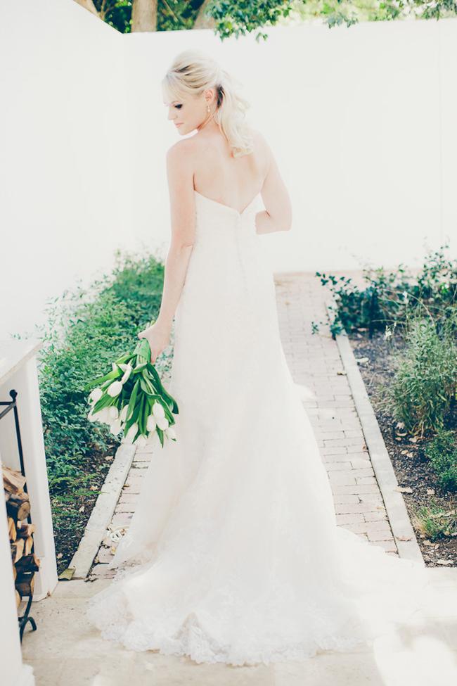 Bride with White Tulip Bouquet