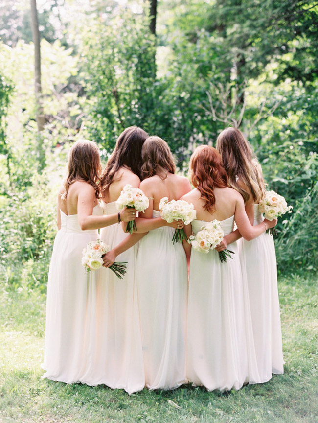White Bridesmaid Dresses Long