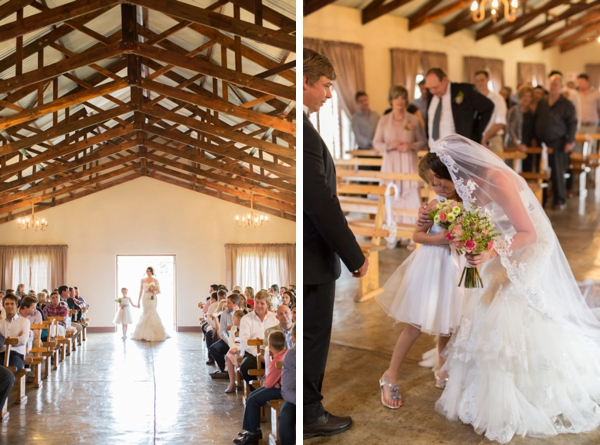 Bride and Flower Girl in Rustic Chapel