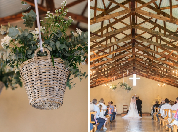 Hanging Greenery in Rustic Chapel