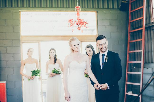 Red Chandelier at Indoor Wedding Ceremony