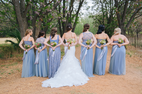Gelique Serenity Blue Bridesmaids Dresses in Rustic Woods