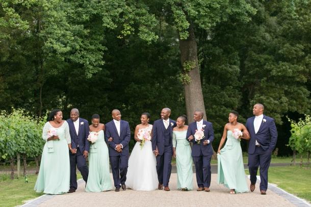 Elegant Navy and Mint Bridal Party at Molenvliet