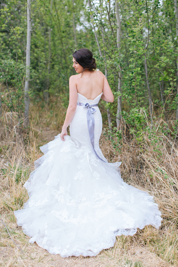 White Wedding Dress with Serenity Blue Ribbon