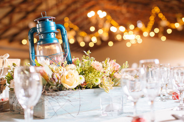 Blue Lantern and Rustic Table Decor at Grin Court
