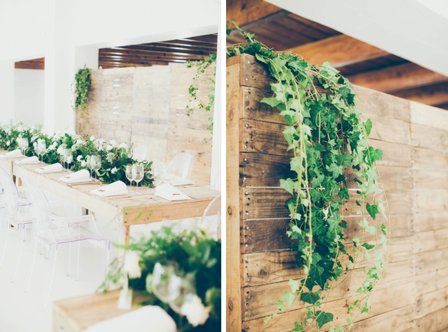Wedding Reception with Greenery and Raw Wooden Elements