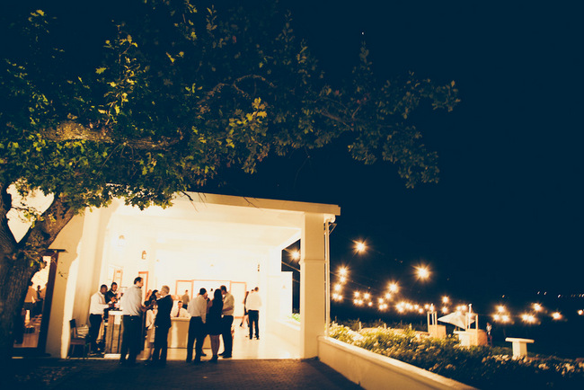 Outdoor Wedding Reception with Naked Bulbs