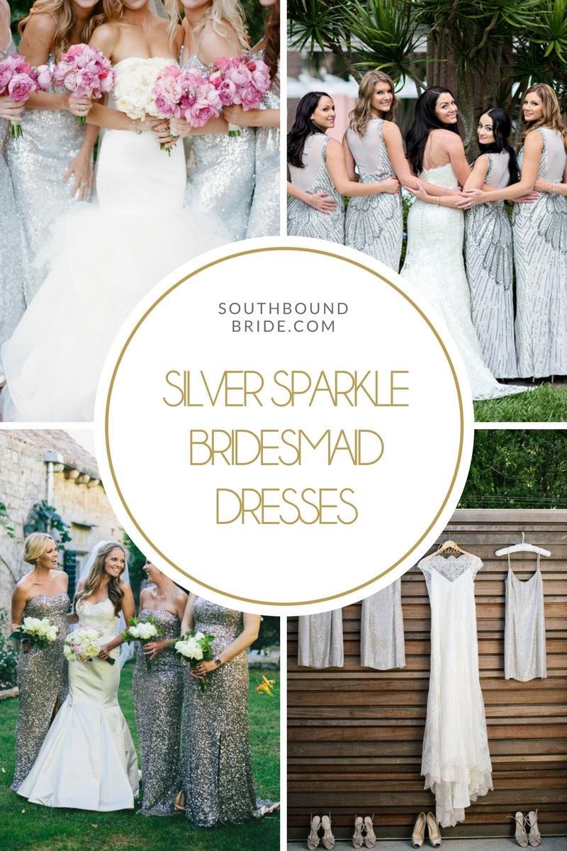 Silver Sparkle Bridesmaid Dresses | SouthBound Bride