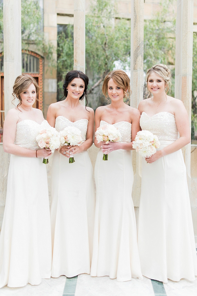 White Sequins Bridesmaids Dresses