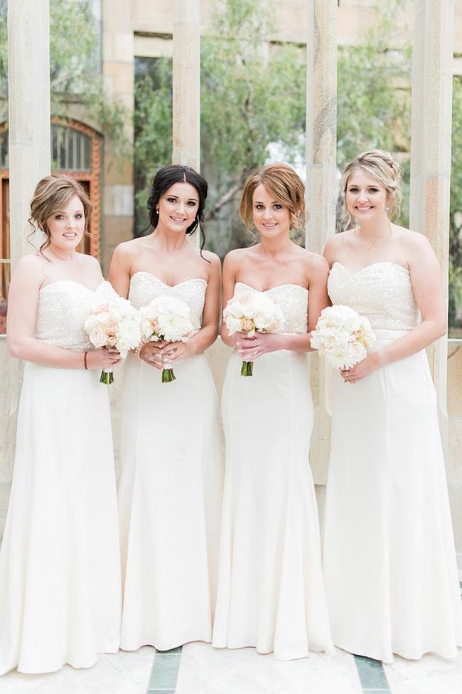 White Sequins Bridesmaids Dresses