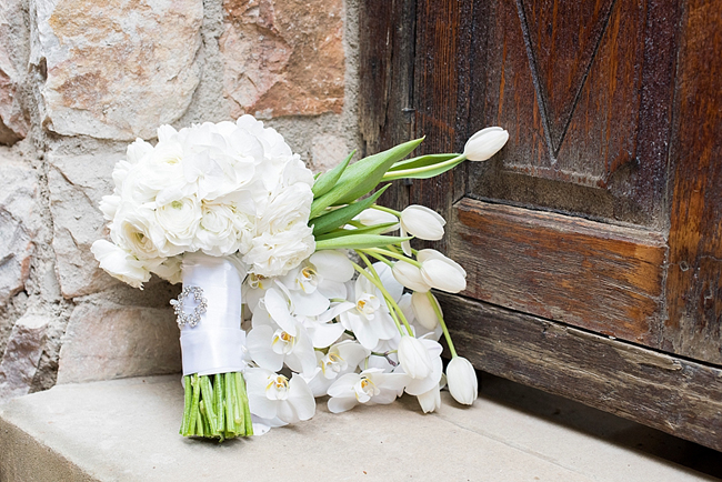 White Tulip and Orchid Bouquet