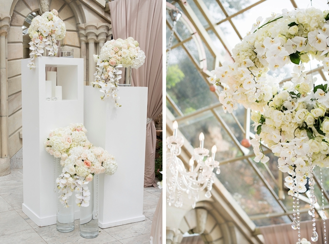 White Orchid and Rose Arrangements