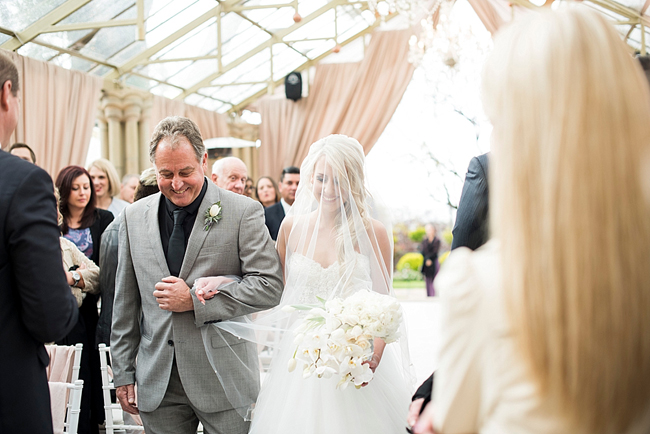 Bride and Father Walking Down the Aisle at Shepstone Gardens