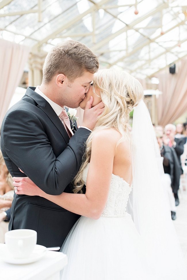 Bride and Groom First Kiss by Jack and Jane Photography