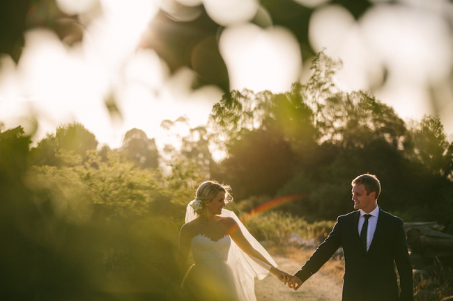 Bride and Groom Portrait in Woods